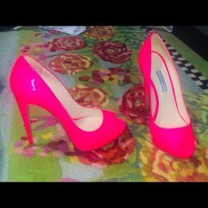 Hot pink Barbie peep toe patent Prada heels 38